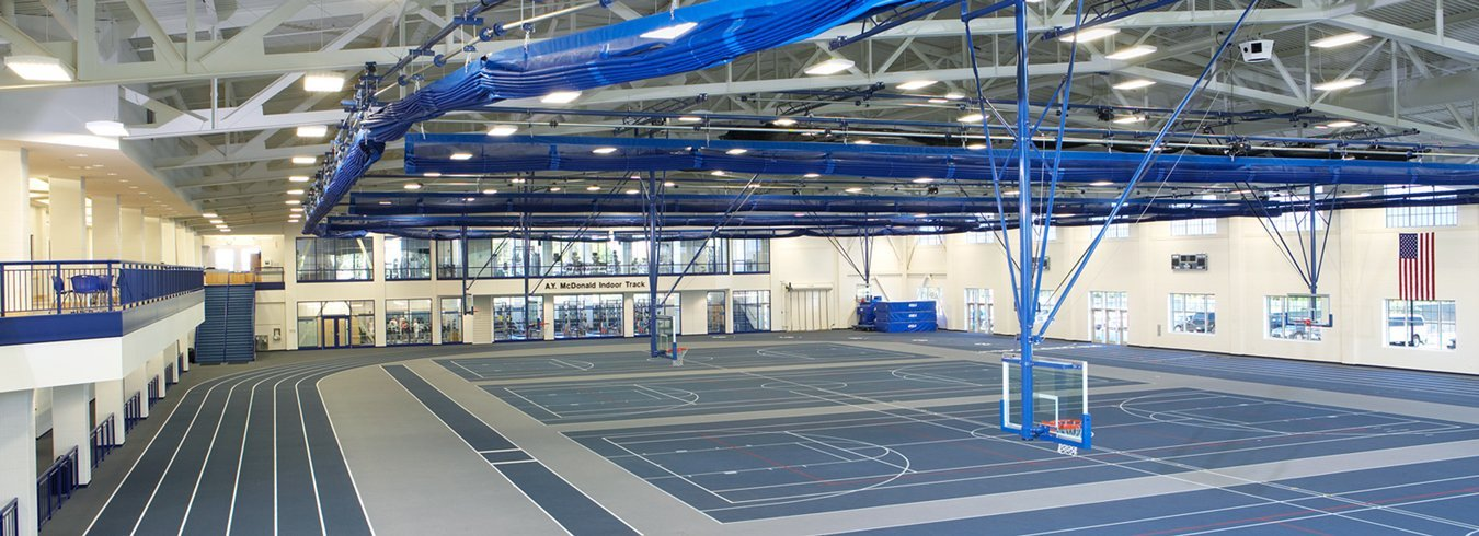 A university gym with audio/video technology.