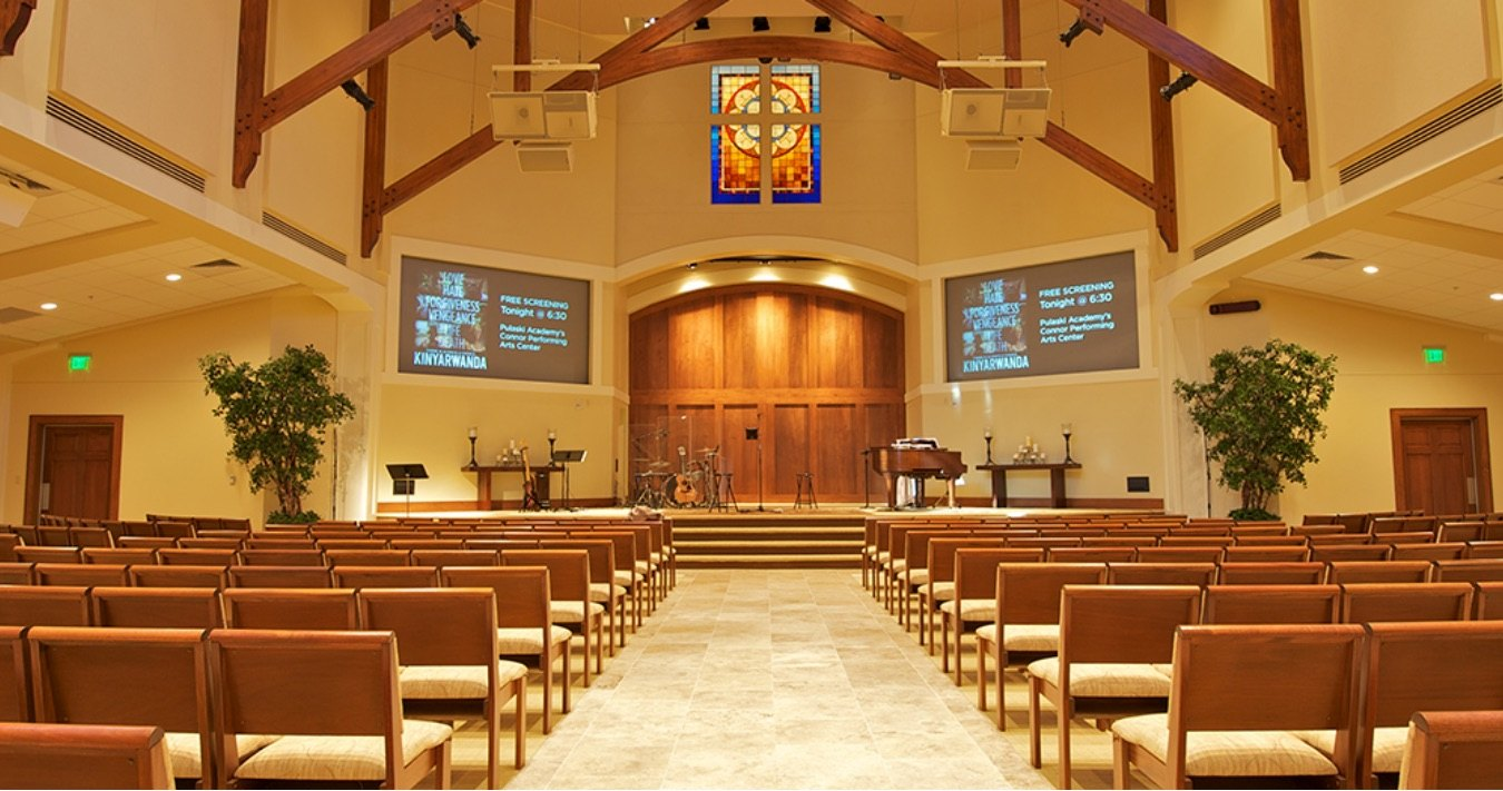 Audio/Video technology installed in a house of worship.